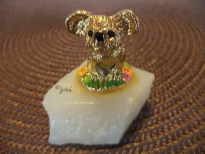 "2"" Judi Originals Of Ca  Gold Plated Enamel Koala Quartz Base Figurine Miniature"