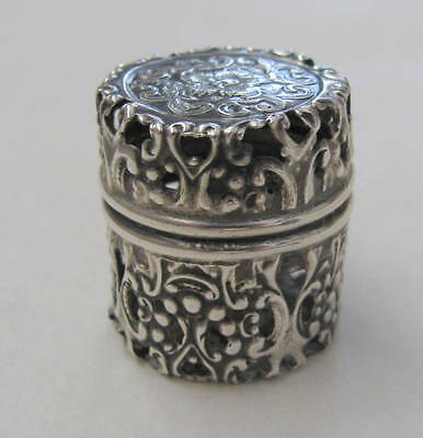 WEBSTER Sterling Floral Open Work Chatelaine Thimble Holder