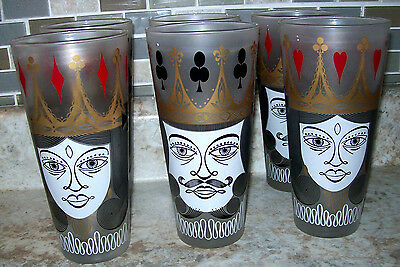 SIX  Retro Vtg LIBBEY King & Queen Glass Tumblers 16 oz  Deck Cards 1950s