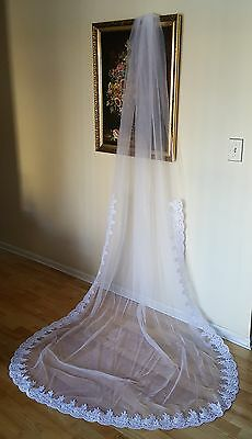 "Royal Cathedral Veil White W/ Sequin Pearl Lace 120"" Long 215-1"