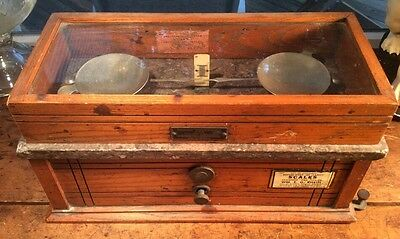 Antique Henry Troemner Oak Cased 190B Apothecary Pharmacist Balance Scale NICE