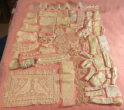 Vintage Antique White Lace 60 Pc Trim Wedding Doll Crafts Filet Crochet Yardage