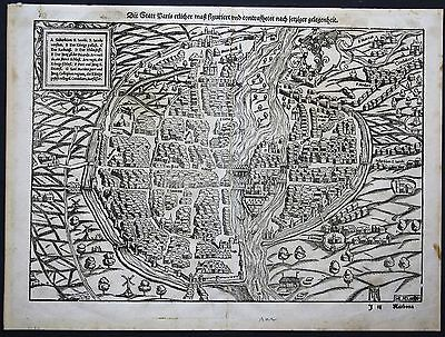 1550 Paris city view plan Holzschnitt woodcut Sebastian Münster Cosmographia