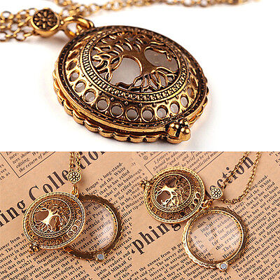 Tree of Life Magnifying Glass Antiqued Bronze Pendant Necklace Mom Gift lj