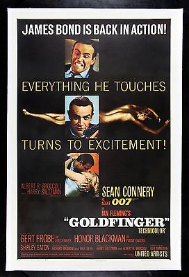 GOLDFINGER ✯ CineMasterpieces JAMES BOND 007 VINTAGE ORIGINAL MOVIE POSTER 1964