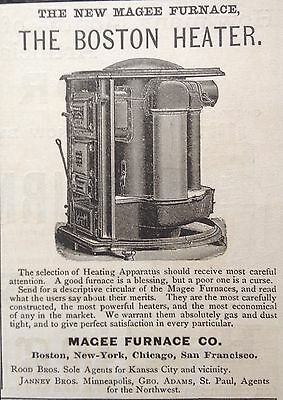 "Antique 1888 Ad (1800-14)~Magee Furnace Co. Boston. ""the Boston Heater"""