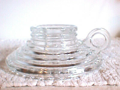 """JEANNETTE #464 CLEAR RIBBED (MANHATTAN STYLE) 5"""" ROUND CANDLEHOLDER, 2 available"""