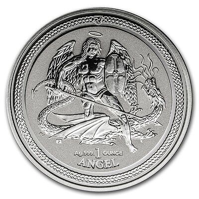 TWO 2016 Isle of Man 1 oz .999 Silver Angel Reverse Proof Coin Archangel Michael