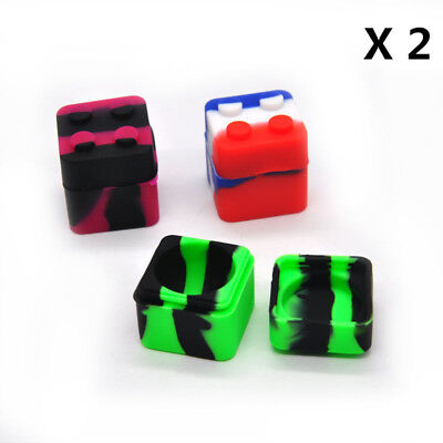 2 X Silicone Stackable Container Wax Dab Oil Jar 6ML (Mix Color)