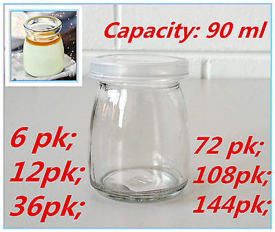 Mini Small Glass Pudding Jars Lolly Candy Bomboniere Wedding Plastic Lid 90 ml