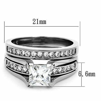 Silver Stainless Steel Princess Cut Engagement 2 Ring Set Size 6 7 8 9 / L N P R