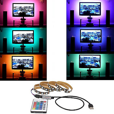 5V USB LED Strip Light Lamp Bulb 5050 RGB TV Background Lighting + IR Controller