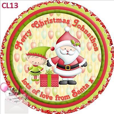 Personalised Santa & Elf Christmas round gloss labels stickers loot bag, favours