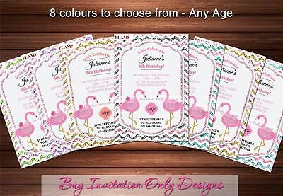 Pink Flamingo Birthday Invitations Glitter Bling Pool Party Invites 8 colours