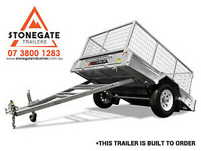 6x4 Trailer Fully Welded Caged Box Trailer Hot Dip Galvanized Tilting Brisbane