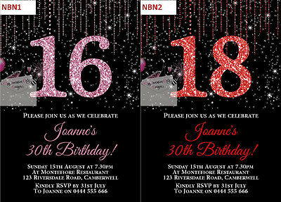 $1EA Glitter Number Birthday invitations invite ANY AGE 18th 21st 30th 40th 50th