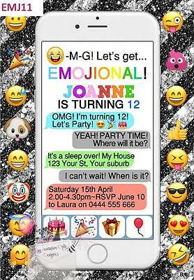 Emoji Phone Text Emoticon Teen Birthday Party Invitations Invite - 10 Colours