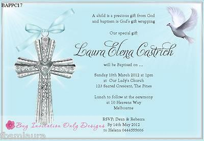 $1ea Baptism Christening Naming Day Confirmation Religious invitations 8 colours