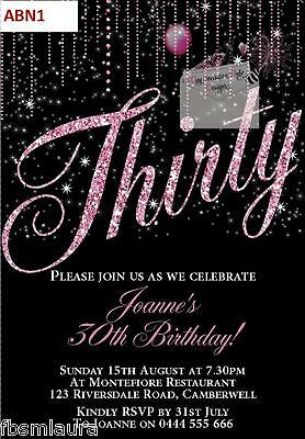 Glitter Number Birthday invitations invite 18th 21st 30th 40th 50th 60th Any Age