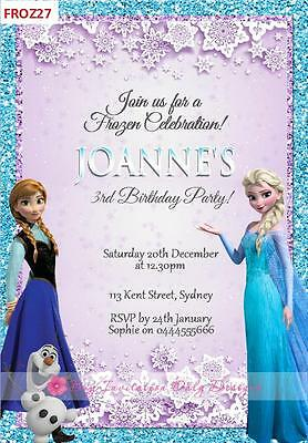 Disney Frozen Anna Elsa Birthday Party Personalised Invitations Cards Invites