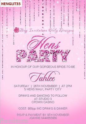 $1ea Personalised Hens Night Hens Party Bachelorette Invitations Invites