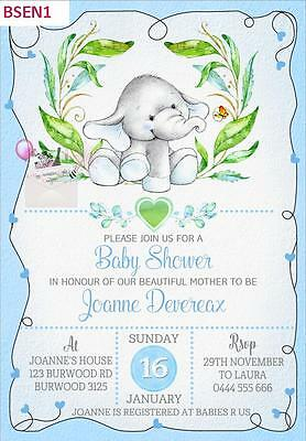ELEPHANT BABY SHOWER IST BIRTHDAYPARTY PERSONALISED INVITATION $1ea - 8 COLOURS