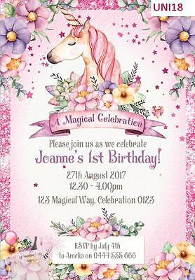Unicorn Baby Shower Birthday Party Invitations invites Glitter 7 colours