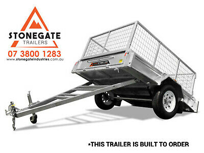 7x5 Cage Trailer Hot Dipped Galvanized Box Trailer Fully Welded Tipper Brisbane