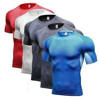 Mens Compression Armour Base Layer Top Half Sleeve Thermal Gym Sports Shirt AU