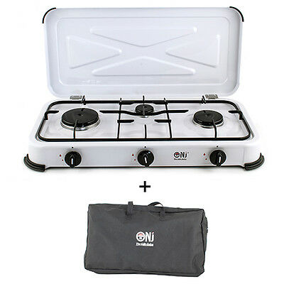 NJ-03 Portable Gas Stove Camping 3 Burner Lid Carry Bag Outdoor LPG 4.25kW NEW