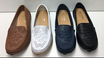 Womens Leather Comfort Casual Walking Flat Shoes Loafers Moccasin Shoes