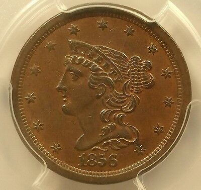 1856 1/2C Braided Hair Half Cent PCGS AU-55