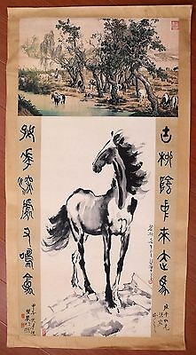 Awesome Long Rare Old Paper Chinese Hand Painting Horses Marks XuBeiHong KK504