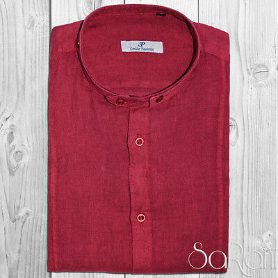 Camicia Uomo Casual Basic Lino Collo Alla Coreana Manica Lunga Slim Fit Bordeaux
