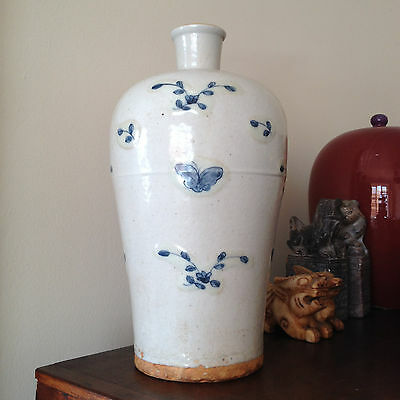 Antique Chinese Ming Meiping Crackle Vase ivory with scattered blue butterflies