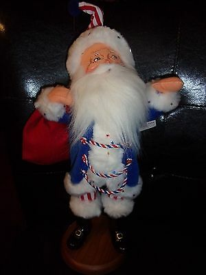 Annalee Doll Christmas 17 Inch Red/white/blue Patriot Santa On Wooden Base