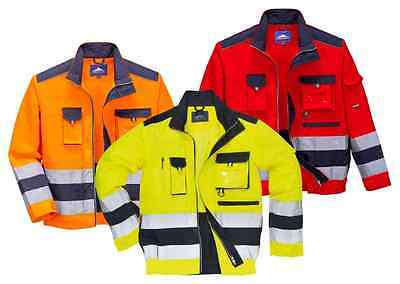 Portwest TX50 Lille Men Hi Vis Work Jacket Polycotton Reflective Two Tone Coat