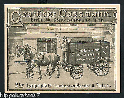 Holz Kohlen Anthracit Gassmann Berlin 1898 Reklame (77) wood coals advertising