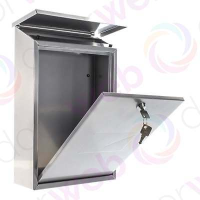 LETTER MAIL BOX Stainless Steel Wall Mount Post Letterbox Secure Lockable