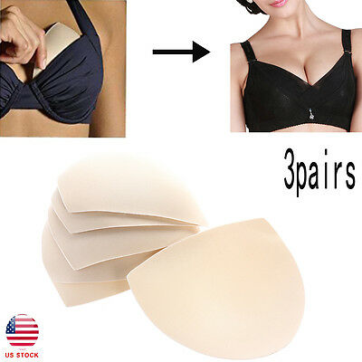 US Womens Removable Smart Cups Bra Inserts Pads For Swimwear 3 Pairs In Set
