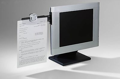 Computer Monitor Document Clip Paper Holder 30 Sheet Capacity Black FreeShipping