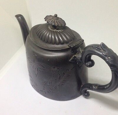 Antique, Ornamental, Pewter Teapot - Made In Sheffield. - Dodgy Repair