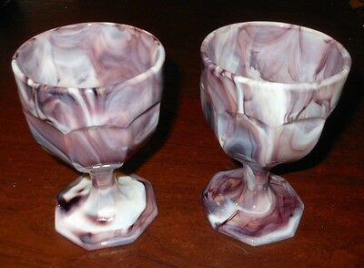 GLASS PURPLE SLAG 8 OZ. WINE Water Footed GLASS GOBLET PAIR of 2