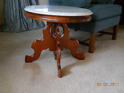Two Vintage Carlton Mclendon Style Italian Marble Top Victorian Pedestal Tables