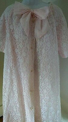 Vintage 1950's Robe Bed Jacket Lingerie Marilyn Fashions Pink Lace Womens 4X
