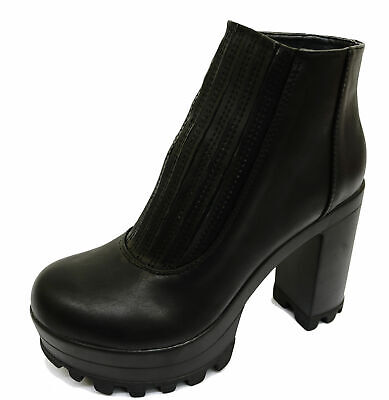 Ladies Black Chunky Pull-On Ankle Biker Calf Platform Stretch Boots Shoes 3-8