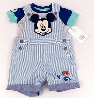 Disney Baby Mickey Mouse Outfit, Shirt Stripe Overalls Size Newborn 6-9M NWT