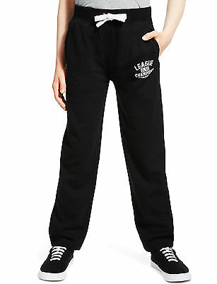 M&S Kids Boys Black Jogging Bottoms Joggers Age 7-8 Years Cotton Rich NEW