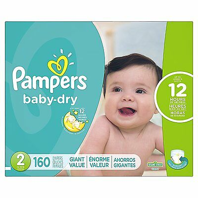 Pampers Baby Dry Diapers Giant Pack Size 2 160 Count, No Sale Tax