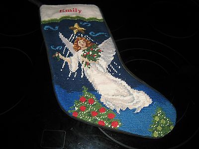 """Lands End Needle Point Christmas Stocking Angel Monogrammed """"emily"""""""